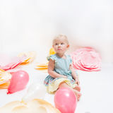 Cute little baby girl with blue eyes royalty free stock photo