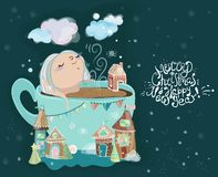 Cute little baby girl in the cup of tea. Christmas card Stock Photography