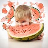 Cute little baby girl eating watermelon slice on white backgroun Stock Photo