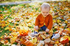 Cute little baby girl having fun on beautiful fall day stock photos
