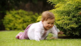 Cute little baby-girl learning to crawl on the green meadow in the city park. stock video