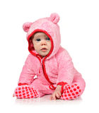 Cute little baby girl in pink Stock Images