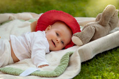 Cute little baby girl playing with her toys Royalty Free Stock Photography