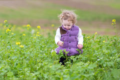Cute little baby girl in purple jacket with flowers Royalty Free Stock Photography