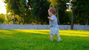 Cute Little baby girl walks by grass stock video