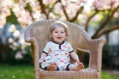 Cute little baby girl sitting on big chair in garden. Beautiful happy smiling toddler with blooming pink magnolia tree. On background. Healthy child enjoying stock photos