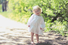 Cute little baby girl smiling stock images