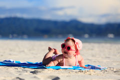 Cute little baby girl on tropical beach Stock Images