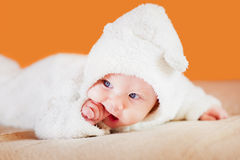 Cute little baby with a hand in his mouth Royalty Free Stock Images