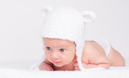 Cute Little Baby In A Funny Hat Royalty Free Stock Photography