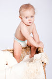 Cute little baby infant in basket with teddy Stock Photography