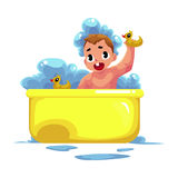 Cute little baby kid, infant, child taking foam bath Royalty Free Stock Images