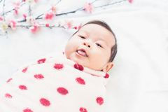 Cute little baby lies on a white cloth and wrapped in quilt, Looking around. Royalty Free Stock Images