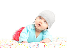 Cute little baby looking up Royalty Free Stock Photos
