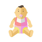 Cute little baby 0-12 months. Child with pacifier. Cartoon character of toddler, infant, kid. Flat style. Vector illustration isolated on white background royalty free illustration