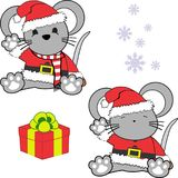 Cute little baby mouse cartoon santa claus costume set Stock Image