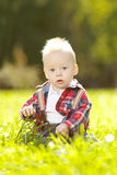 Cute little baby in the park on the grass. Sweet baby outdoors. Royalty Free Stock Photography