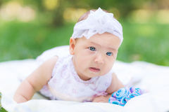 Cute little baby in the park Royalty Free Stock Image