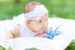 Cute little baby in the park Stock Photo