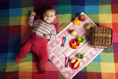 Cute little baby on picnic Stock Photos