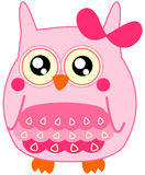 Cute little baby pink owl with bow Royalty Free Stock Photography