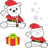 Cute little baby polar bear cartoon santa claus costume set Royalty Free Stock Images
