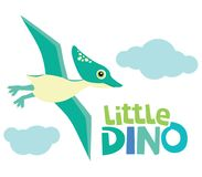 Cute Little Baby Pterodactyl Dinosaur Flying with Little Dino Lettering and Clouds Vector Illustration Isolated on White. All elements are grouped together Stock Photography