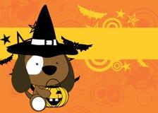 Cute little baby puppy cartoon halloween costume background Stock Photos
