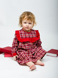 Cute little baby in red dress Stock Photo