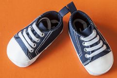 Cute little baby shoes. Sneakers for baby on the colorful background Stock Photo