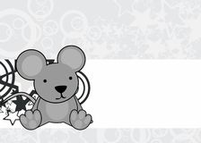 Cute little baby sit mouse cartoon frame background Stock Photo