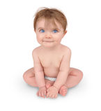 Cute Little Baby Sitting on White stock image
