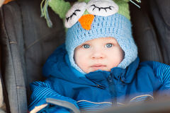 Cute little baby in a stroller Stock Photos