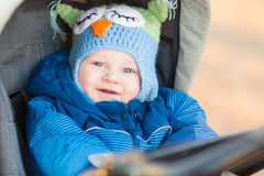 Cute little baby in a stroller Stock Photo