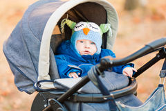 Cute little baby in a stroller Stock Image
