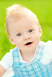 Cute little baby in summer  park on the grass. Sweet baby outdoo Stock Photos
