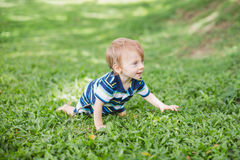 Cute little baby in summer park on the grass. Sweet baby outdoor Royalty Free Stock Photo