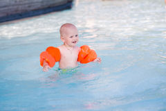 Cute little baby in swimming pool Royalty Free Stock Photo