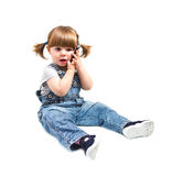 Cute little baby is talking on cell phone Royalty Free Stock Image