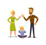 Cute little baby toddler loving his parents while they quarrel. A little boy crying, cursing when his beloved parents. Vector Illustration of a flat design Royalty Free Stock Photography