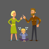 Cute little baby toddler loving his parents while they quarrel. royalty free illustration