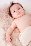 Cute little baby todler infant lying on blanket Stock Images