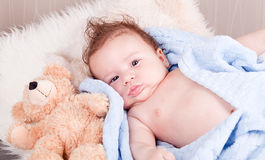 Cute little baby todler infant lying on blanket Royalty Free Stock Images