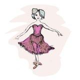Cute little ballerina, doodle nursery illustration Royalty Free Stock Photo