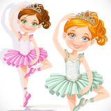 Cute little ballerina girl in pink and green tutu and tiara Royalty Free Stock Photos