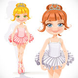 Cute little ballerina girl in tiara with heart Royalty Free Stock Image