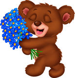 Cute little bear cartoon holding a bouquet Royalty Free Stock Images