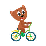 Cute little bear character riding bicycle, cycling, holding handlebar. Cute little bear character riding bicycle, cycling, cartoon vector illustration isolated Royalty Free Stock Images
