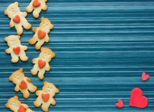 Cute little bear cookies with hearts. Blank space for text Stock Photos