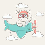 Cute little bear fly plane stock illustration